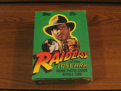 1981 Topps Raiders of the Lost Ark Trading Cards Box ~ 36 Sealed Wax Packs