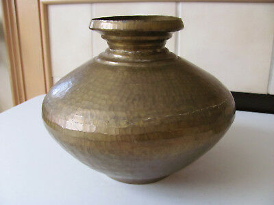Vintage Antique Old Large Heavy Hammered Brass  Water Pot Vessel Vase Urn