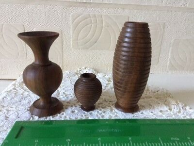Vintage Wooden Miniature Vase Lot x 3 Collectable Treen