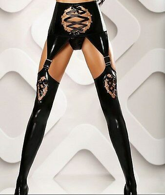 Latex Leather Look Sexy Black Suspender Belt with Stockings Attached