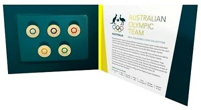 2016 Australia $2 Coloured 5 Coin Olympic Set In Folder With Colour Booklet