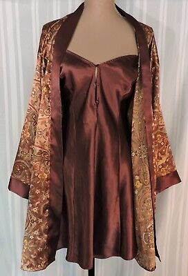 Vintage nightgown robe SET Brown Paisley LARGE Delicates nightie SOFT & PRETTY