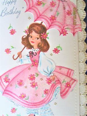 VINTAGE 60's EPHEMERA BIRTHDAY CARD GIRL IN PINK & ENVELOPE UNUSED