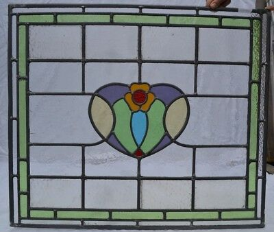 NEW leaded light stained glass window panel 61.5 x 71cm. Shipping insured. R704b