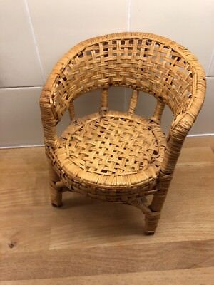 Wicker Rattan Chair For Toy Doll Teddy Bear Childs Room Vgc