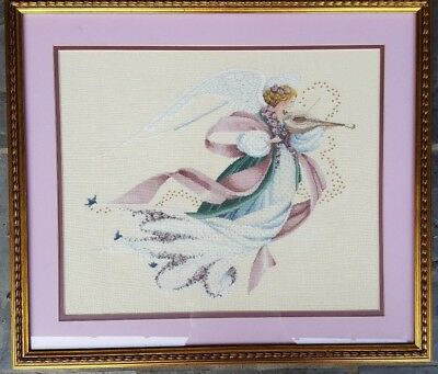 HAND FINISHED & Custom Framed ANGEL OF SPRING Counted Cross Stitch