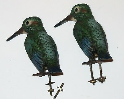 Pair of Antique Austrian Cold-Painted Bronze Kingfishers, unmounted.