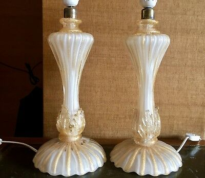 Pair of Archimede Seguso Murano Glass Gold Lamp/Lampade
