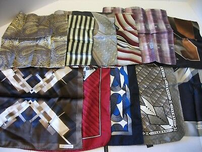 a7d73c74b397 Lot Of 11 100% Silk Pocket Squares Handkerchiefs Stacy Adams & Unbranded  Vguc