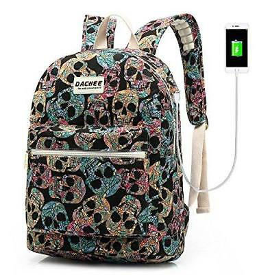 Backpack USB Port Waterproof Canvas School Travel Backpack 15.6 Inch (Gothic Sku