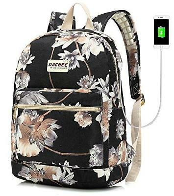 Backpack USB Port Waterproof Canvas School Travel Backpack 15.6 Inch (Lotus)