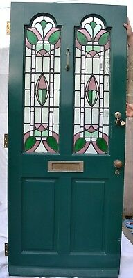 English leaded light stained glass front door. R772. SHIPPING INSURANCE INCLUDED
