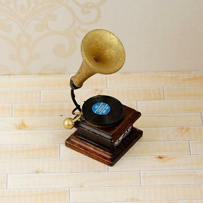 Gramophone Dollhouse Record Player Miniature Music Decor Living Room 1:12 Scale