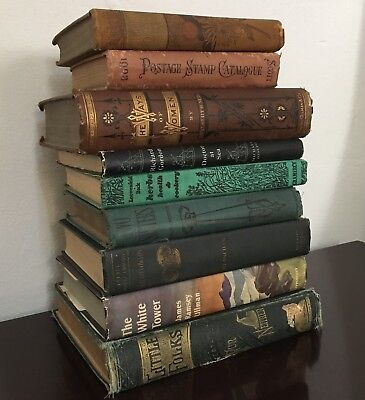 LOT of 5 VINTAGE to ANTIQUE Decorative Books Beautiful HISTORIC Hand-Picked