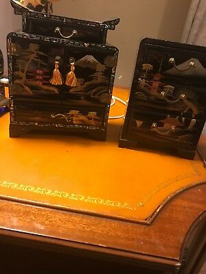Vintage Oriental Black Laquer With Mother of Pearl Jewelry Box 2 Piece