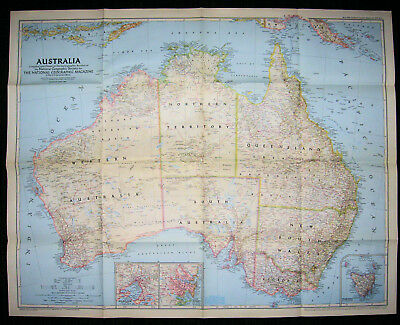 Australia National Geographic Society 1948 Map