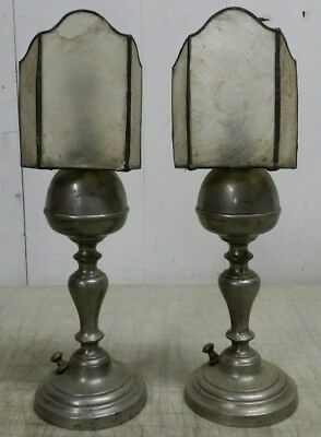 """Pair of 9"""" Antique Pewter Electric Table Lamps with Clip-On Capiz Shell Shades"""