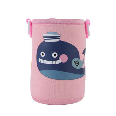 Cartoon Pink Whale Neoprene Bottle Sleeve Insulated Cover Kids with Strap