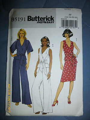 UNCUT Butterick B5191 Misses wrap top jacket with skirt pants, FF 16 18 20 22