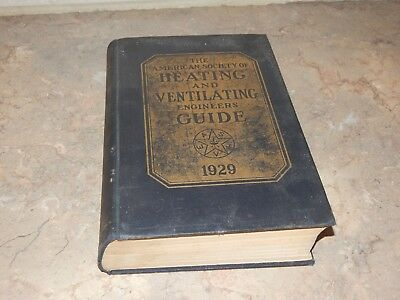 Antique American Society of Heating Ventilating Engineers Guide 1929 Book Vtg