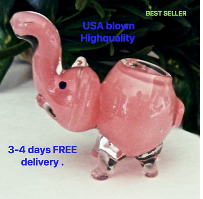 Collectible TOBACCO Smoking Pipe Herb Glass Hand Pipes Bowl, Elephant Clear Pink