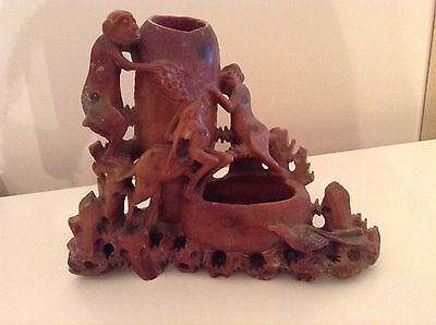 Antique Chinese Soapstone Brush Washer With Carved Animals