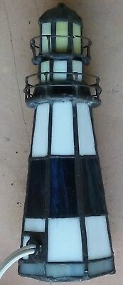 Tiffany Style Vintage Stained Glass Lighthouse Desk Table Lamp