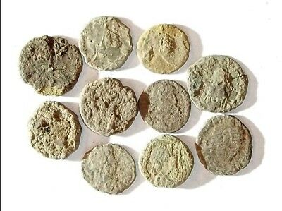 10 ANCIENT ROMAN COINS AE3 - Uncleaned and As Found! - Unique Lot X21117