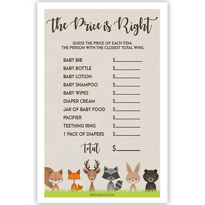 Woodland Creatures Baby Shower Game - The Price Is Right - Set of 30