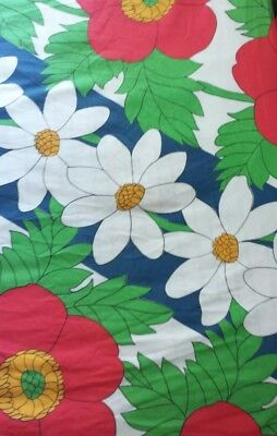 Vintage 60's Utica Full Fitted Bright Op Art Mod Big Flowers Poppies Daisies
