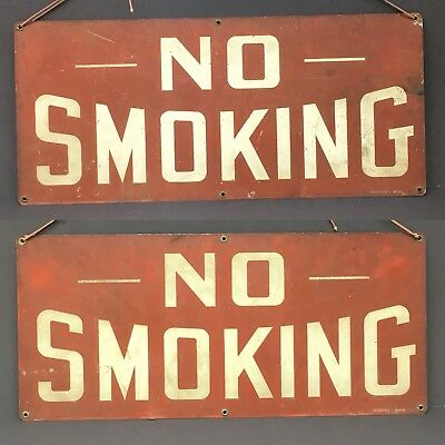 "Antique Vtg No Smoking Double Sided Stonehouse Denver Red Metal Sign 20"" x 9"""