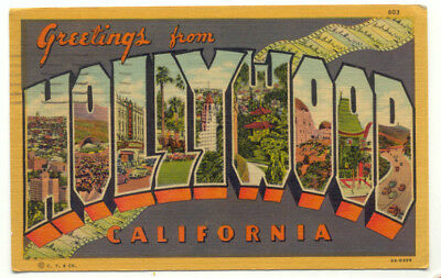 1936 greetings from hollywood ca large letter linen postcard hollywood ca large letter greetings linen postcard california m4hsunfo