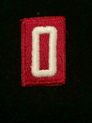 BOY CUB SCOUT TROOP PACK NUMBER # 0 PATCH RED & WHITE EMBROIDERED BSA old style