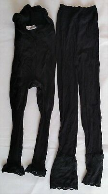 2 Women Ladies Black Pantyhose Tights Stocking Lace Nine Size Great Condition