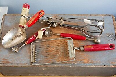 Lot Vintage Antique Red Wood Handle Kitchen Tools Accessories