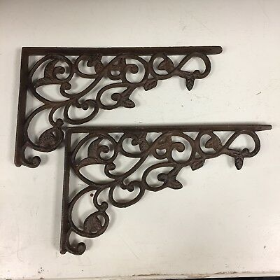 Pair Cast Iron Vine Style Wall Shelf Bracket Vintage Antique Style Rustic Garden