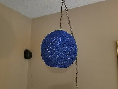 RARE LARGE BLUE 14 INCH VINTAGE MID CENTURY 1960s SPAGHETTI BALL SWAG LIGHT LAMP