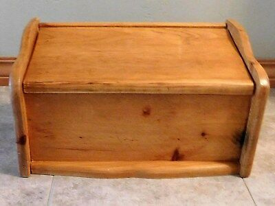 Vintage Handcrafted Solid Wood Bread Box with Flip Lid