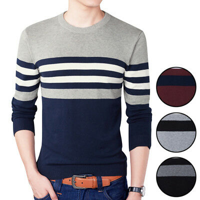 Mens Striped Sweater Crew Neck Long Sleeve Jumpers Knit Casual Pullover Tops