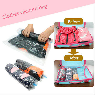 Roll-Up Vacuum Clothes Storage Bag Travel Compressed Bag Saved Space Seal