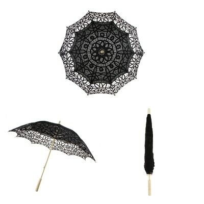 Cotton Lace Parasol Umbrella Wedding Bridal Shower Decor Photo Prop Black