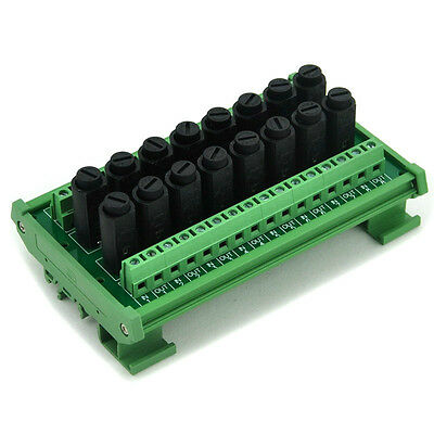 16 Channel Fuse Interface Module, Din Rail Mount, for 5x20mm Tube Fuse. x1