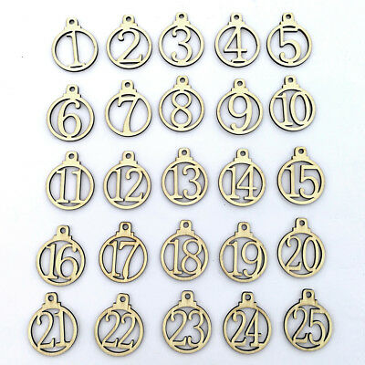 1-25 Vintage Wooden Christmas Countdown Advent Calendar Number Diy Tags Strict