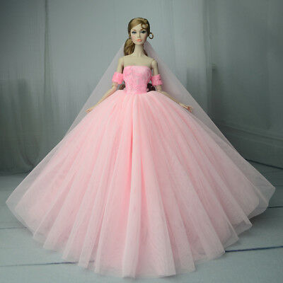 Pink Fashion Royalty Princess Dress/Clothes/Gown+veil For Barbie Doll S539