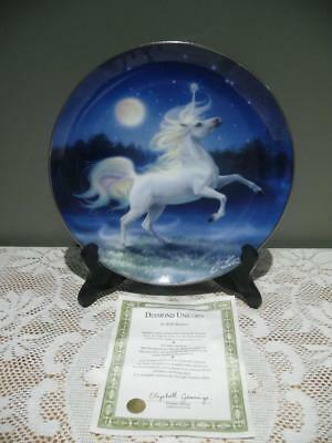Gorgeous 'diamond Unicorn' Collectable Cabinet Plate - Franklin Mint - Gc