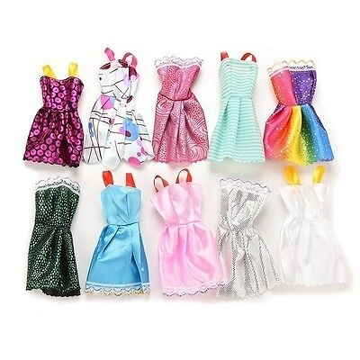 Barbie Dolls Princess Dresses Outfit Party Wedding Clothes Gown 10pcs/set USstoc