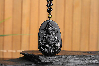 Chinese Natural Black Obsidian Hand-Carved Green Tara Style Auspicious Pendant