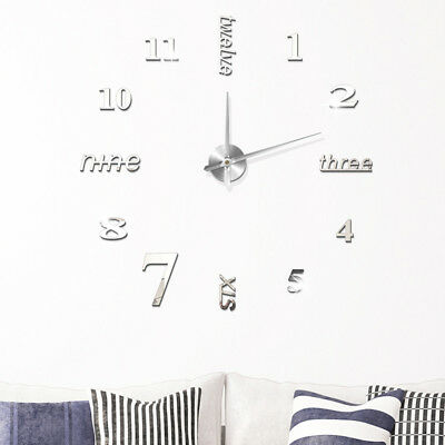 Fashion DIY Small/ Large Number Wall Clock 3D Mirror Surface Sticker Home Decors