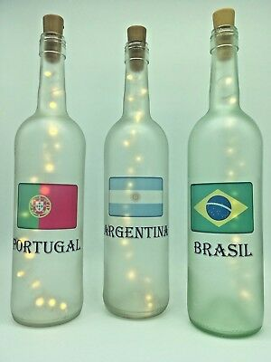 Any Country Flag Global World Patriotic decoration light up bottle personalise!