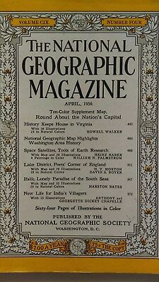 National Geographic magazine April 1956 History in Virginia/Space Satellites/